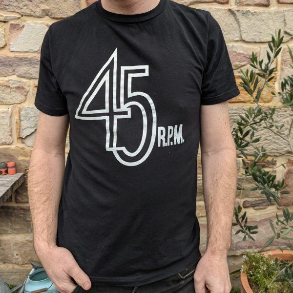45 rpm t-shirt on man