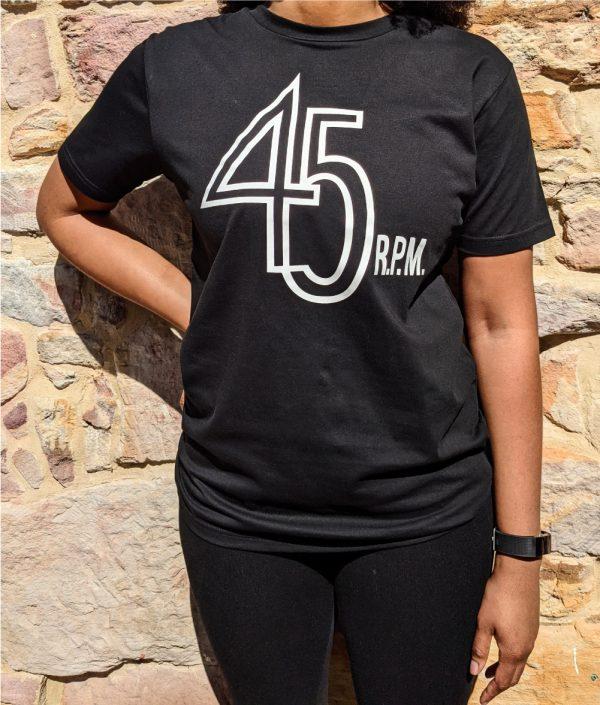 45 rpm logo on black t-shirt worn by female