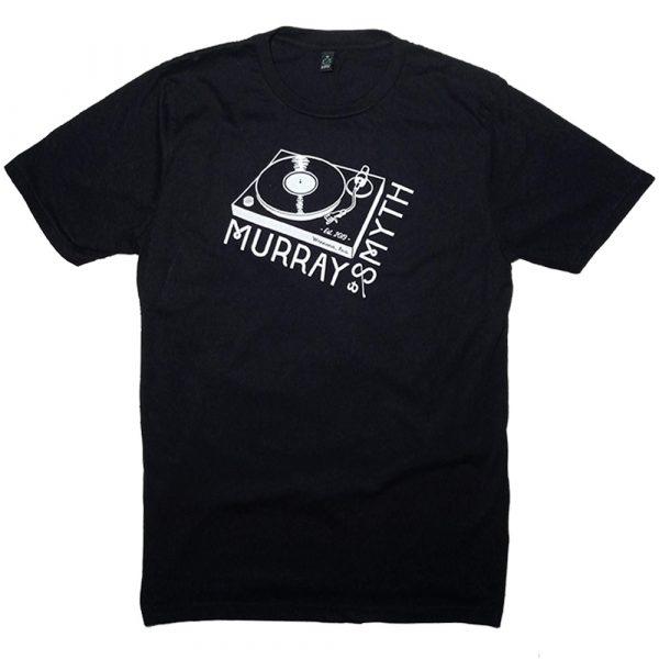 White Murray and Smyth record player logo on black t-shirt