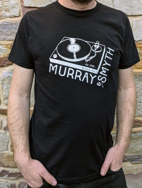 Murray and Smyth record player white print on black t-shirt worn by man