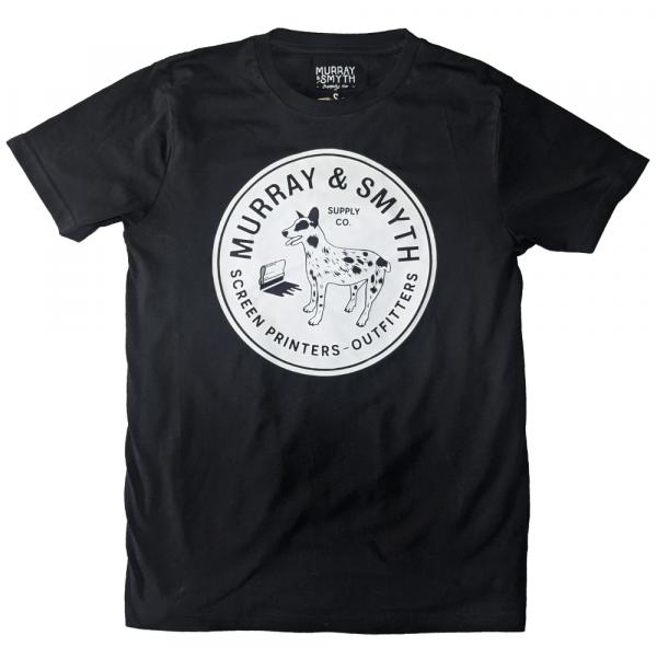 Murray and Smyth dog logo white on black t-shirt