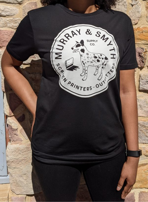 Murray and Smyth dogo logo on black t-shirt worn by woman