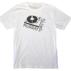 Record player image with Murray and Smyth text black print on white t-shirt