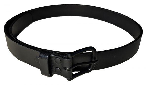 Black leather dress belt with black hardware