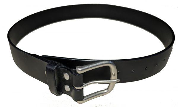Black dress belt with nickel matte hardware