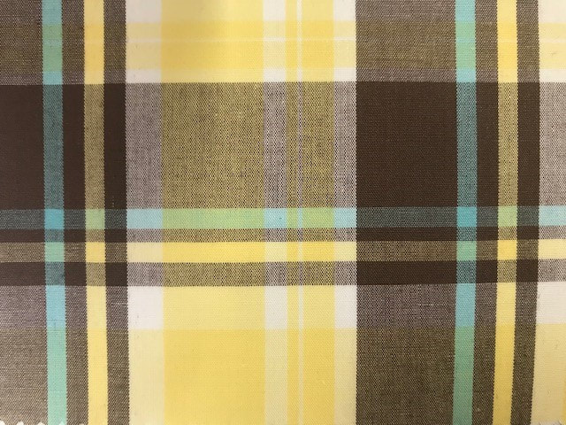 check sample with blue, brown, grey and yellow