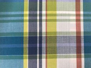 check fabric sample with blue, yellow, white and red
